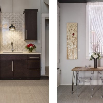 a collage of images showing different interior spaces