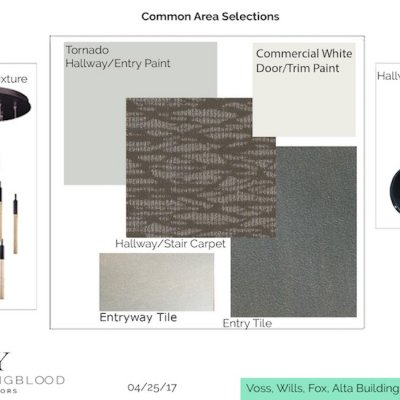 a design plan with design elements, colors, and textures
