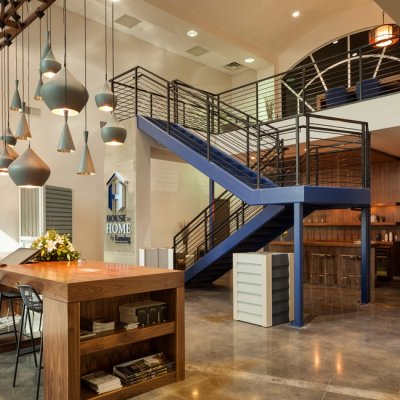 Lansing Building Products, Interior at Night, Cincinnati OH-by Amy Youngblood Interiors