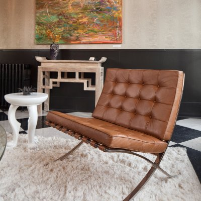 brown leather decorative chair