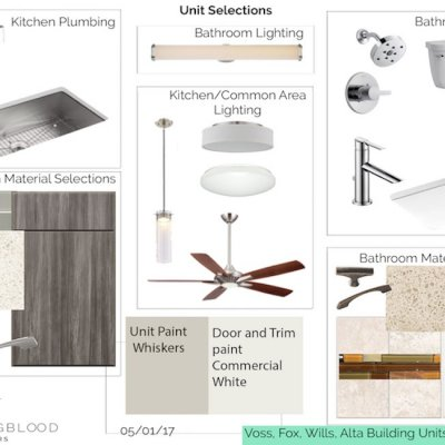a design plan with design elements and materials
