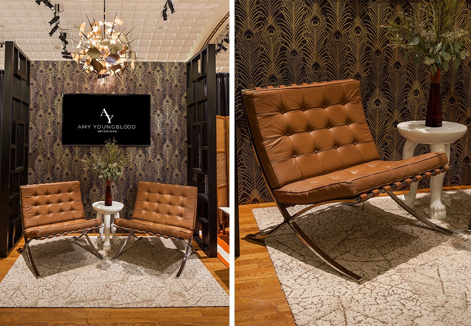 a collage of images showing design elements and brown chairs