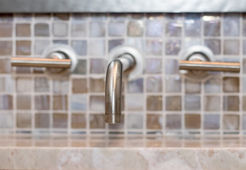 closeup view of modern-looking faucet