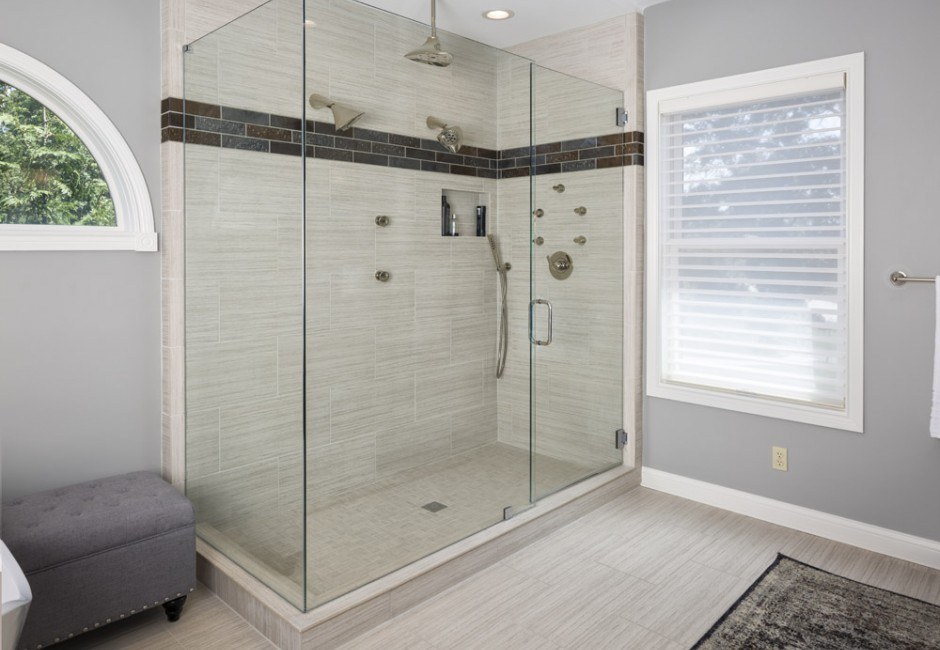 view of a walk-in glass shower