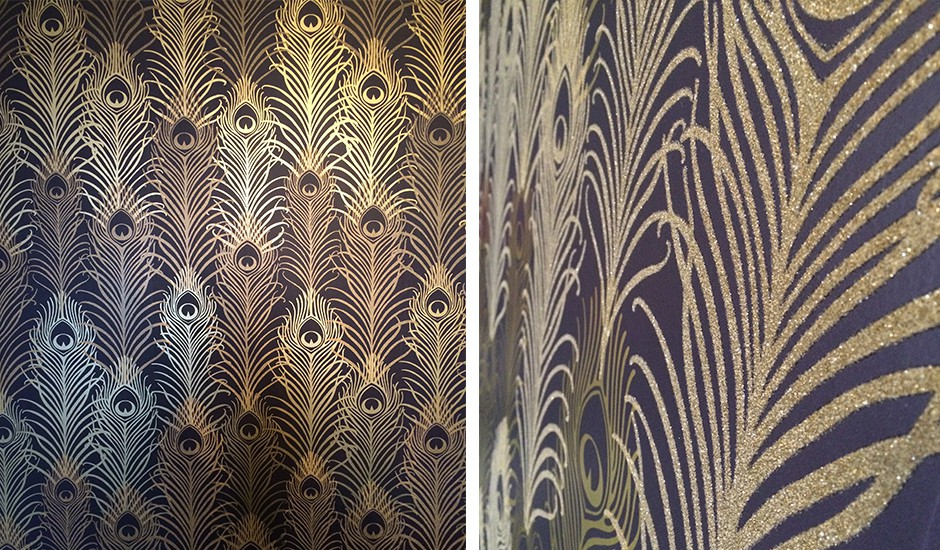 a collage of images of a decorative wallpaper that looks like gold peacock feathers